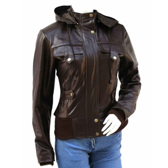 Women's Glossy Brown Leather Jacket with Hoodie