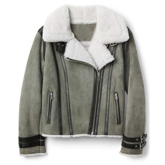 Women's Grey Suede Motorcycle Shearling Jacket