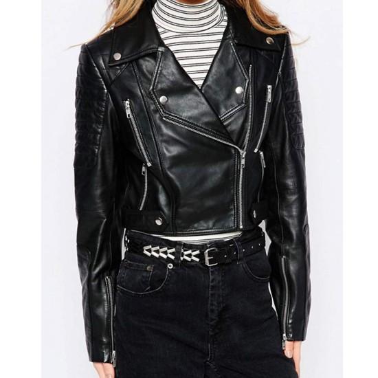 Women's Huntsville Asymmetrical Cropped Black Leather Jacket