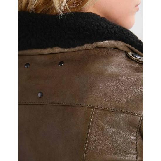 Women's Khaki Leather Fur Collar Jacket