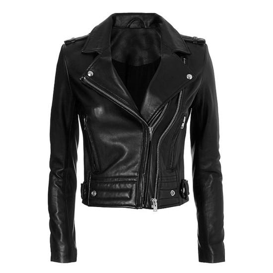 Women's Las Vegas Black Leather Motorcycle Jacket
