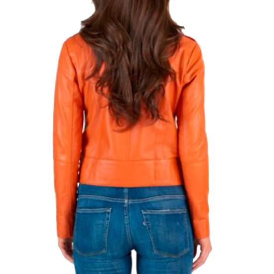 Women's Asymmetrical Motorcycle Orange Jacket