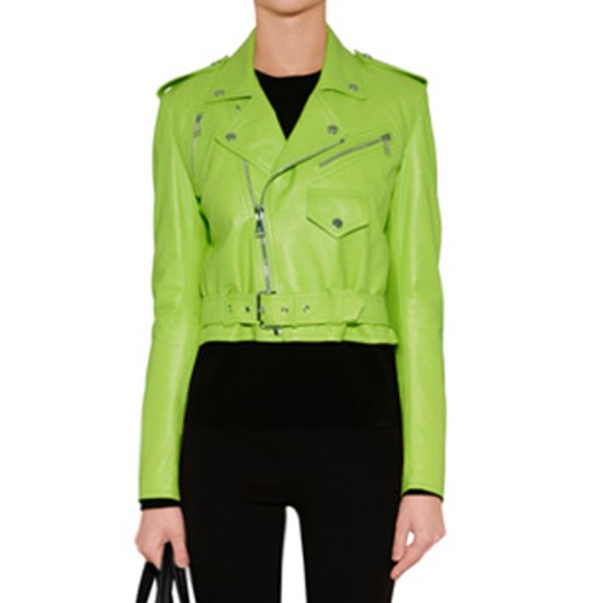 Women's Lime Green Leather Belted Motorcycle Jacket