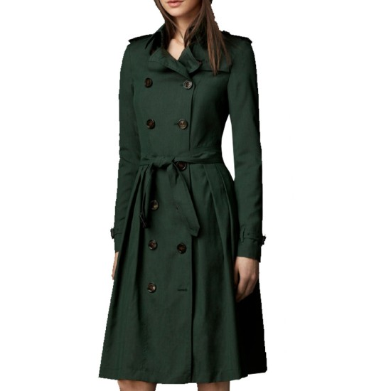 Women's Green Double Breasted Belted Coat