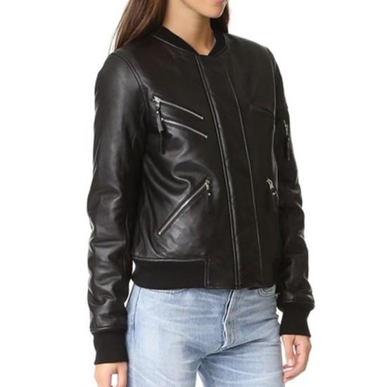 Women's Los Angeles Bomber Black Leather Jacket