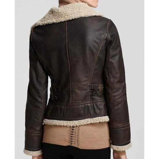 Women's Michael Asymmetrical Zipper Shearling Brown Leather Jacket