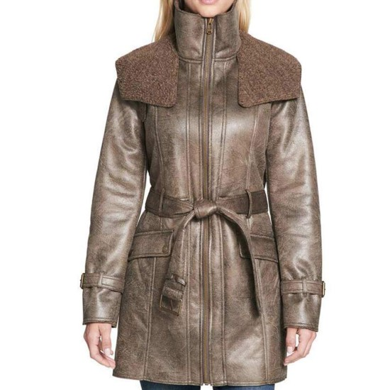 Women's Mid Length Duster Shearling Leather Coat