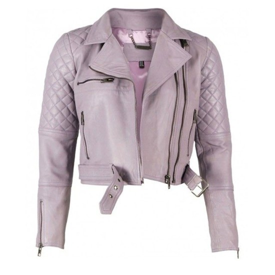 Women's Lavender Biker Asymmetrical Quilted Leather Jacket
