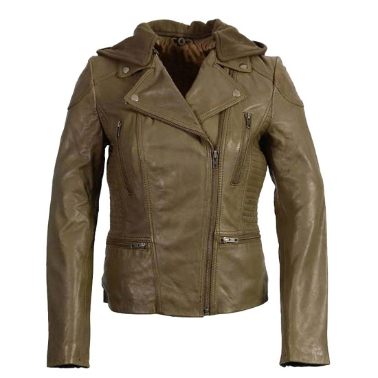 Women's Asymmetrical Olive Green Leather Jacket