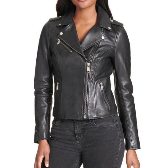 Women's Motorcycle Snap Details Asymmetrical Black Leather Jacket