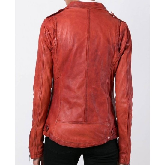 Women's Ontario Red Leather Motorcycle Jacket