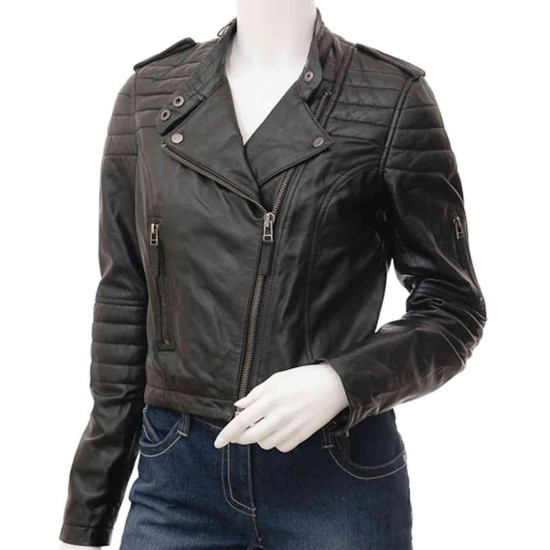 Women's Asymmetrical Zipper Padded Design Leather Jacket
