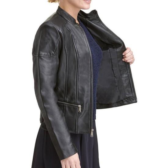 Women's Promo Scuba Casual Black Leather Jacket