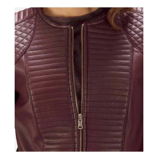 Women's Quilted Burgundy Leather Jacket