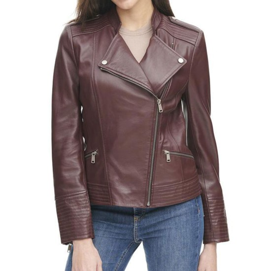 Women's Quilted Design Asymmetrical Burgundy Leather Jacket