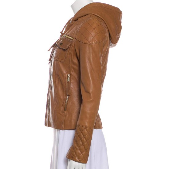Women's Quilted Design Cognac Leather Jacket with Hoodie
