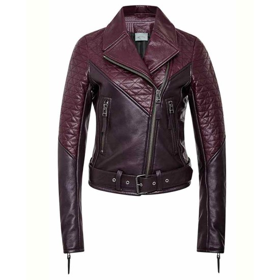 Women's Quilted Leather Motorcycle Two Tone Jacket