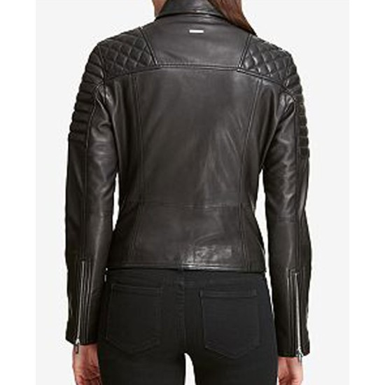 Women's Quilted Shoulder Black Leather Moto Jacket