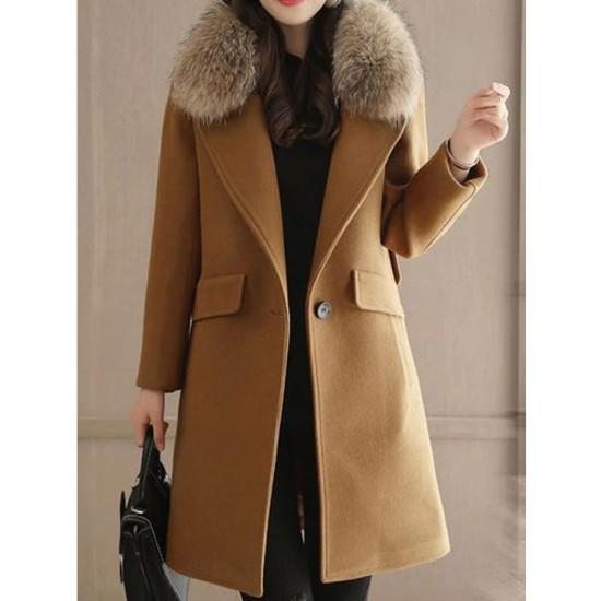 Women's Winter Single Button Wool Coat