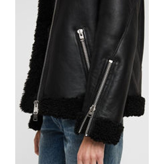 Women's Shearling Bomber Black Leather Jacket