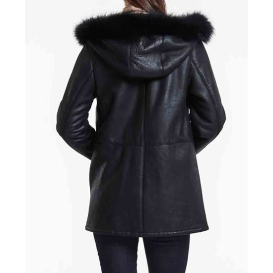 Women's Stylish Shearling Black Leather Jacket With Hoodie