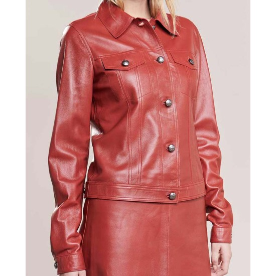 Women's Pinkish Red Color Shirt Style Button Leather Jacket