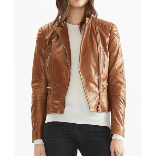 Women's Asymmetrical Zipper Brown Leather Biker Jacket