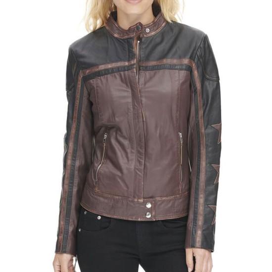 Women's Stars Sleeves Design Motorcycle Leather Jacket
