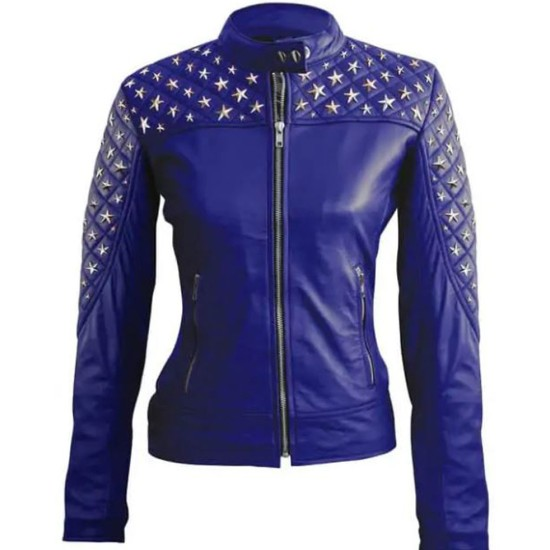 Women's Studded Silver Star Leather Diamond Quilted Jacket