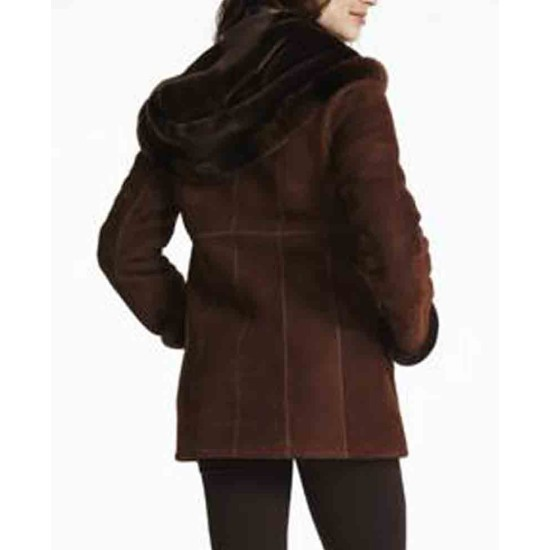 Women's Shearling Brown Suede Leather Jacket with Hoodie