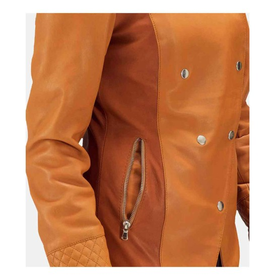 Women's Overlap Tan Leather Jacket