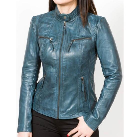 Women's Waxed Blue Leather Motorcycle Jacket