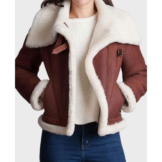 Women's WFJ021 Buckle Brown Leather Shearling Jacket