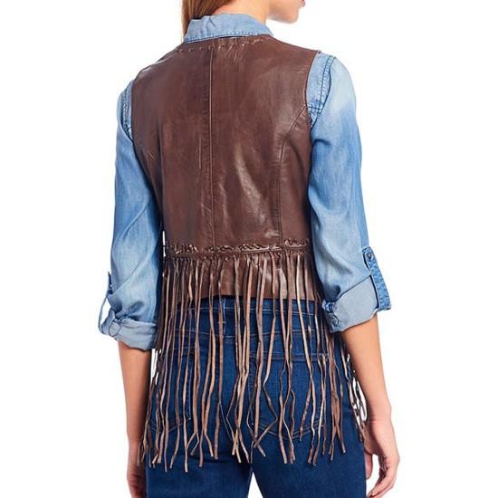 Women's WFJ021  V-Neckline Fringe Brown Vest