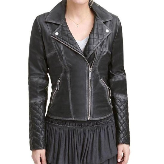Women's WFJ189 Quilted Black Leather Jacket