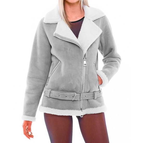 Women's WFJ301 Suede Asymmetrical Zipper Shearling Grey Jacket