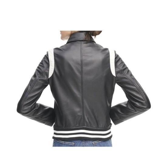 Women's White Striped Bomber Asymmetrical Black Leather Jacket