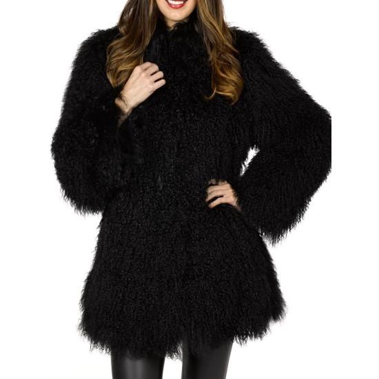 Women's Mongolian Fur Winter Black Coat