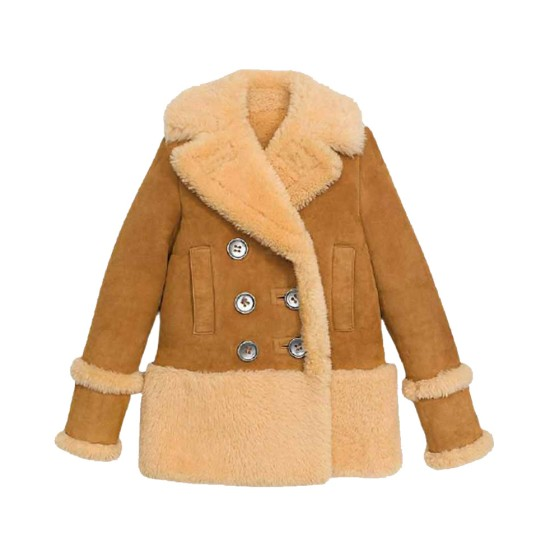 Women's Winter Shearling Brown Leather Peacoat