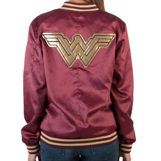 Women's Wonder Woman Bomber Red Jacket
