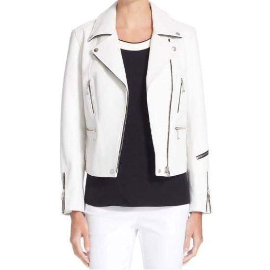 Women's Zipper Design Motorcycle White Leather Jacket