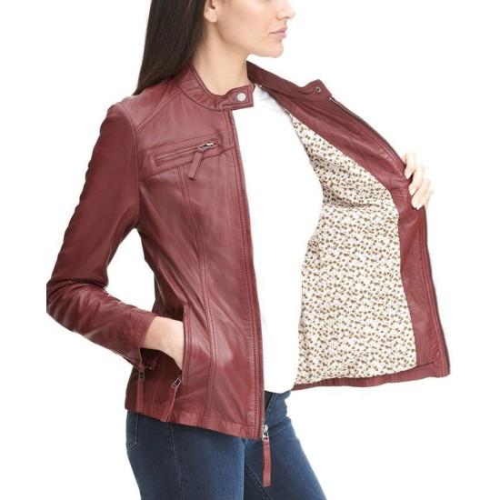 Women's Zipper Pockets Scuba Red Leather Jacket
