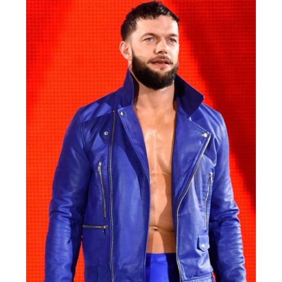 WWE Finn Balor Blue Leather Jacket
