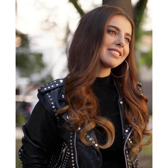 Carolina Ramirez The Queen of Flow Studded Leather Jacket
