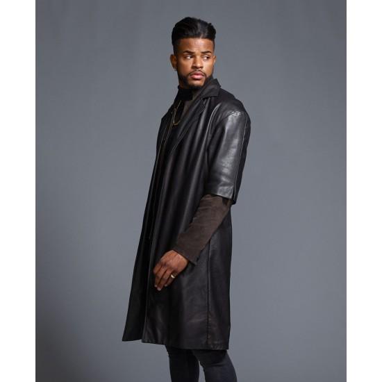 Trevor Jackson SuperFly Black Leather Coat