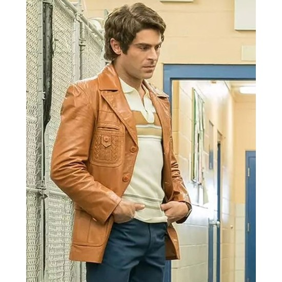 Zac Efron Extremely Wicked Tan Brown Leather Jacket