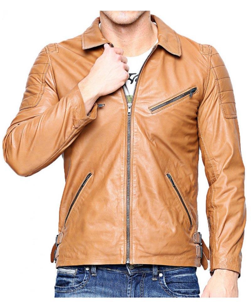 Light brown biker jacket mens