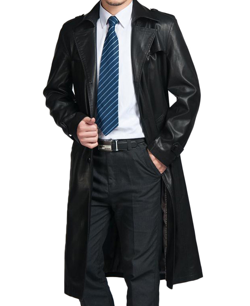 Belted Style Mens Black Leather Trench Coat - Films Jackets