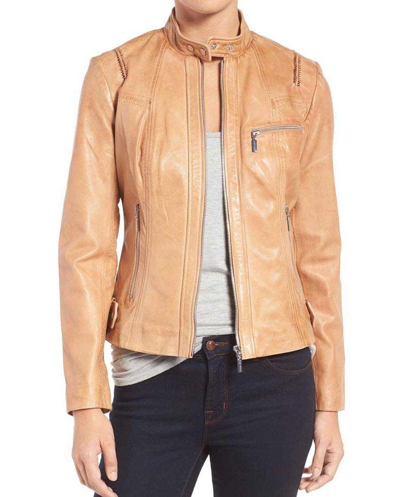 Biker Style Tan Leather Jacket Womens - Films Jackets