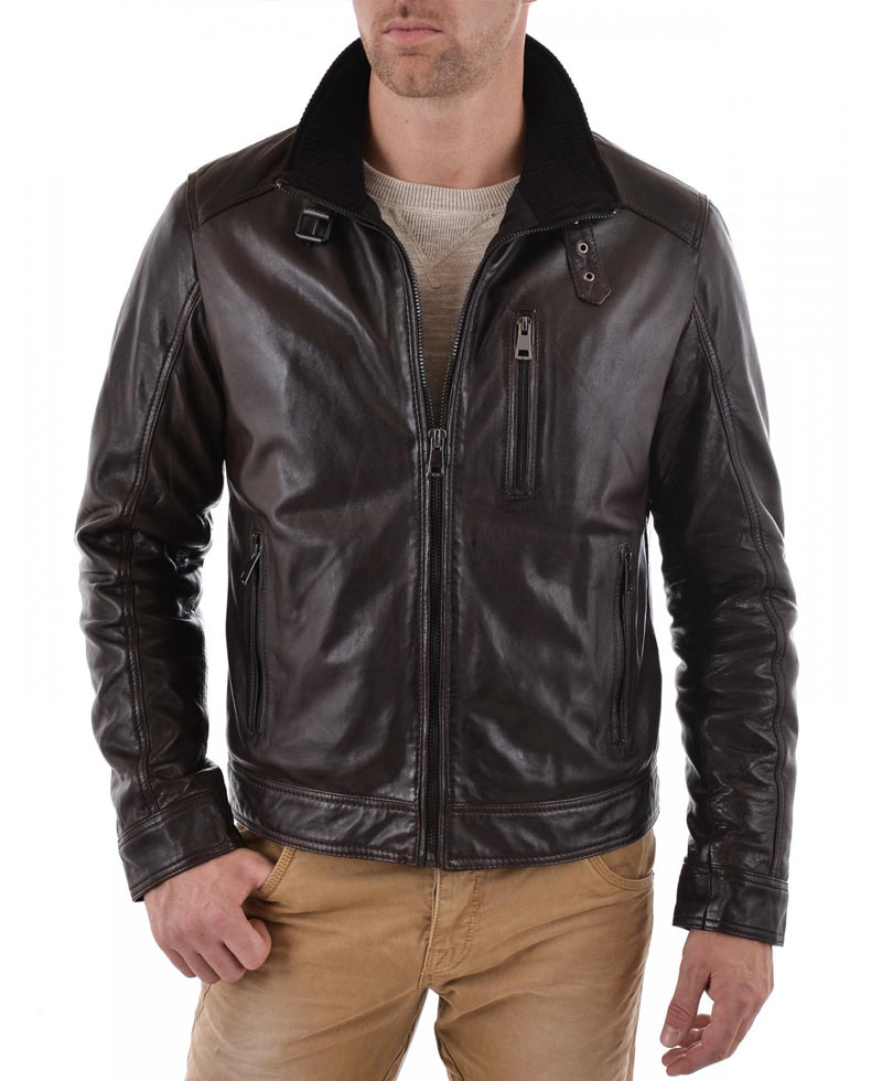 c89613a9 Casual Mens Dark Brown Leather Jacket - Films Jackets